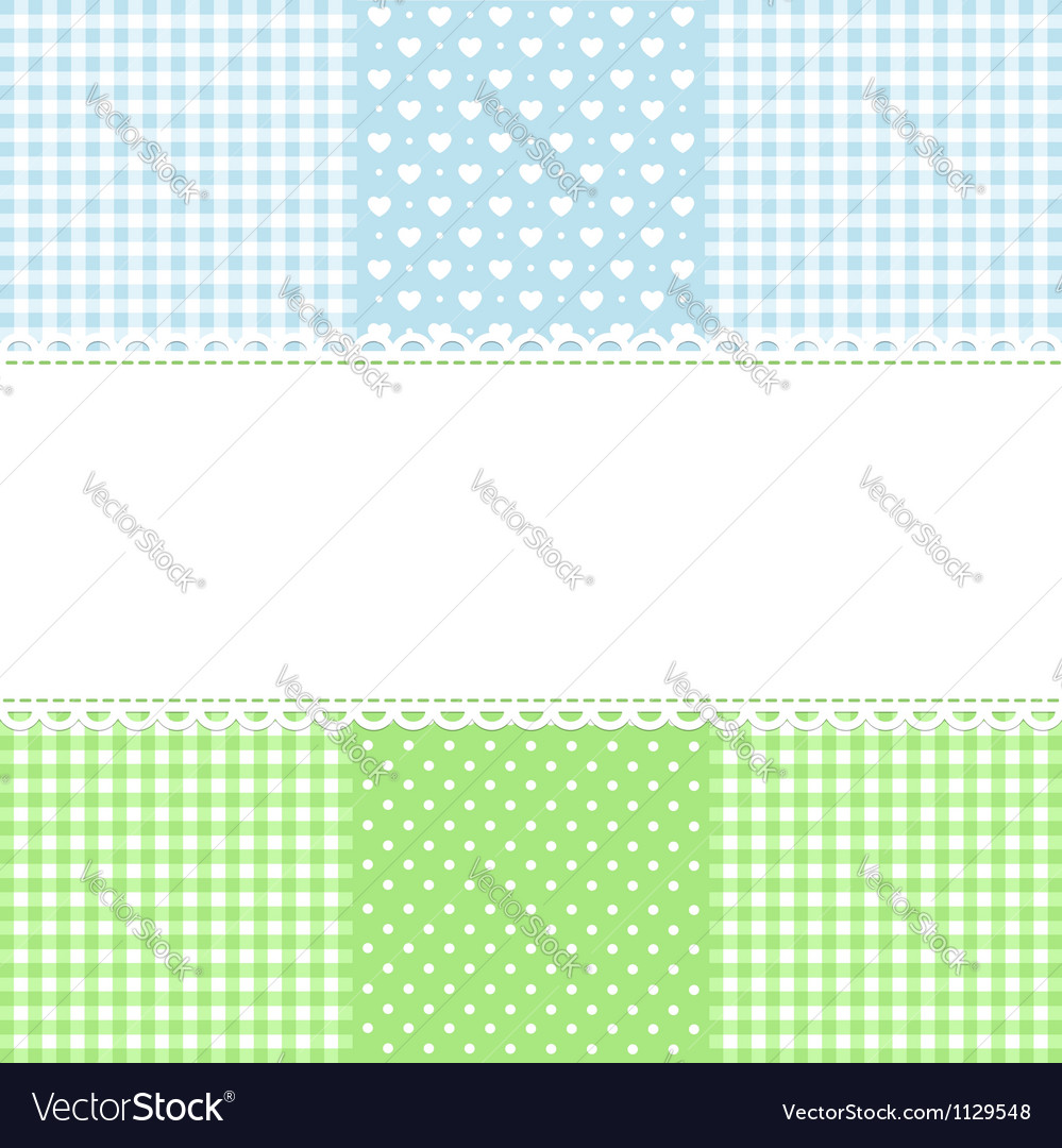 Lace border on fabric checked background vector | Price:  Credit (USD $)