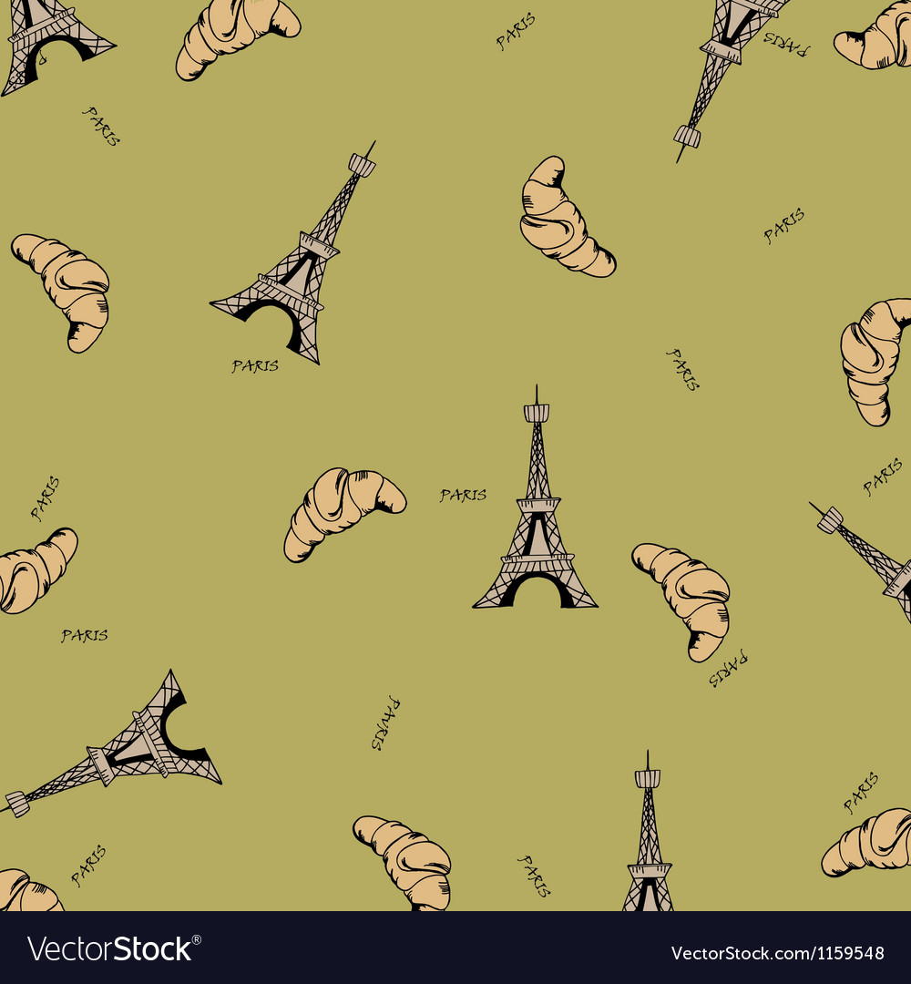 Paris seamless pattern with eiffel tower and vector | Price: 1 Credit (USD $1)