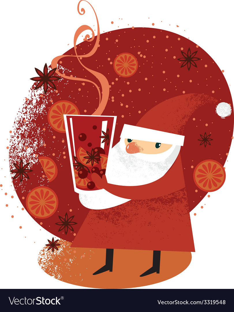 Santa with mulled wine vector | Price: 1 Credit (USD $1)