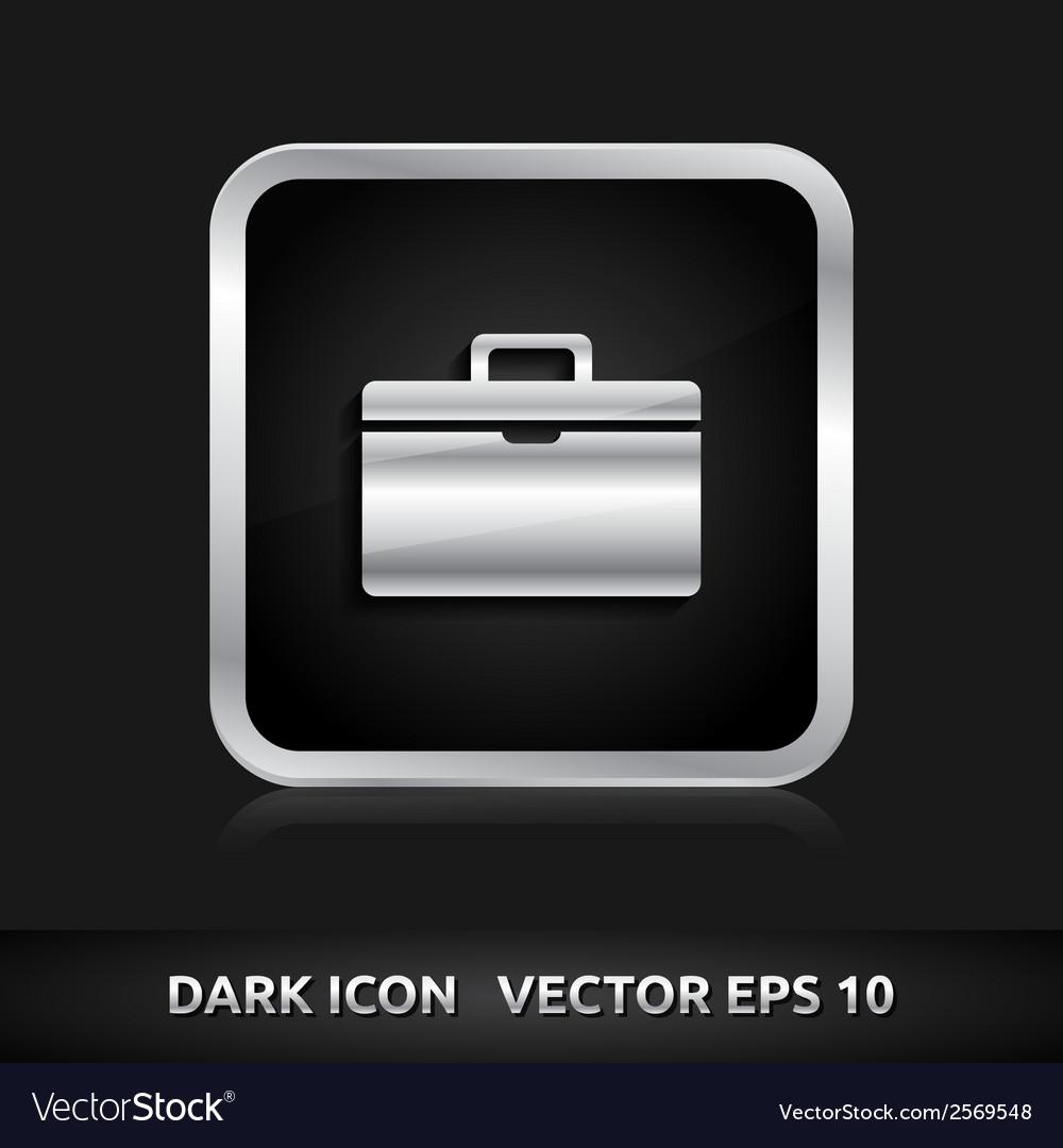 Suitcase icon silver metal vector | Price: 1 Credit (USD $1)