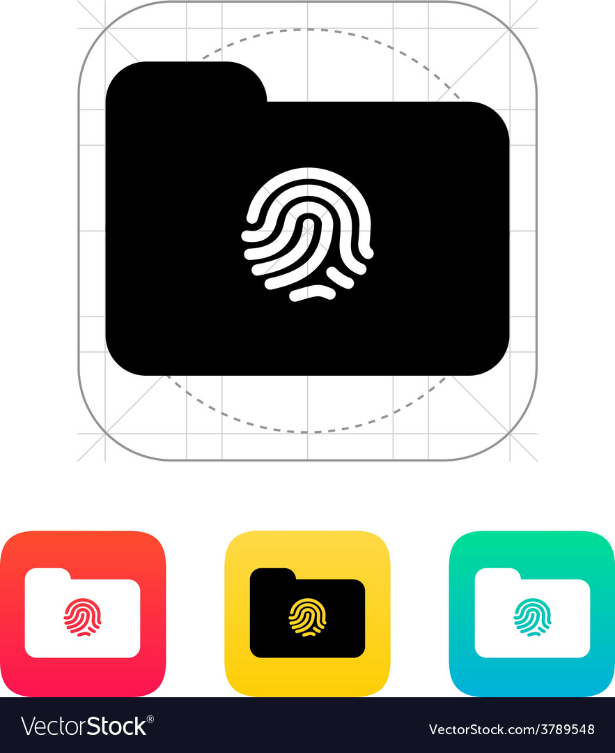 Thumbprint on folder icon vector | Price: 1 Credit (USD $1)