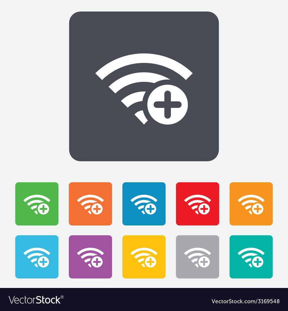 Wifi plus sign add wi-fi symbol wireless vector | Price: 1 Credit (USD $1)