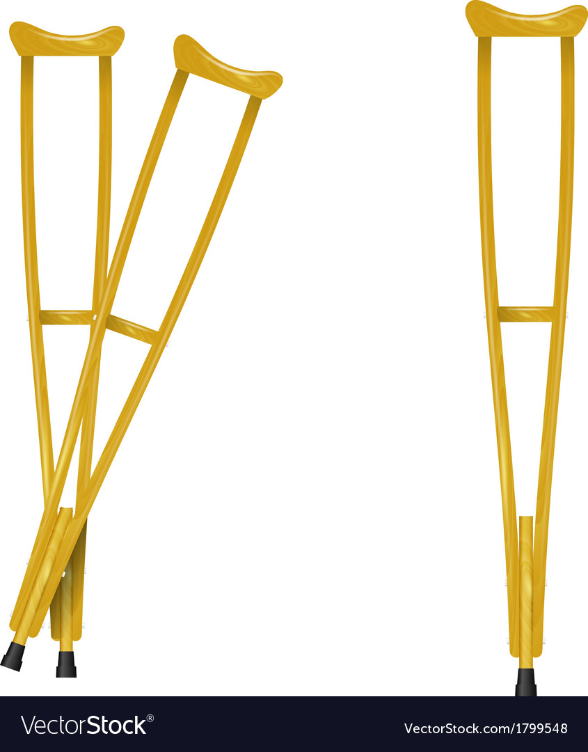 Wooden crutches on white background vector | Price: 1 Credit (USD $1)