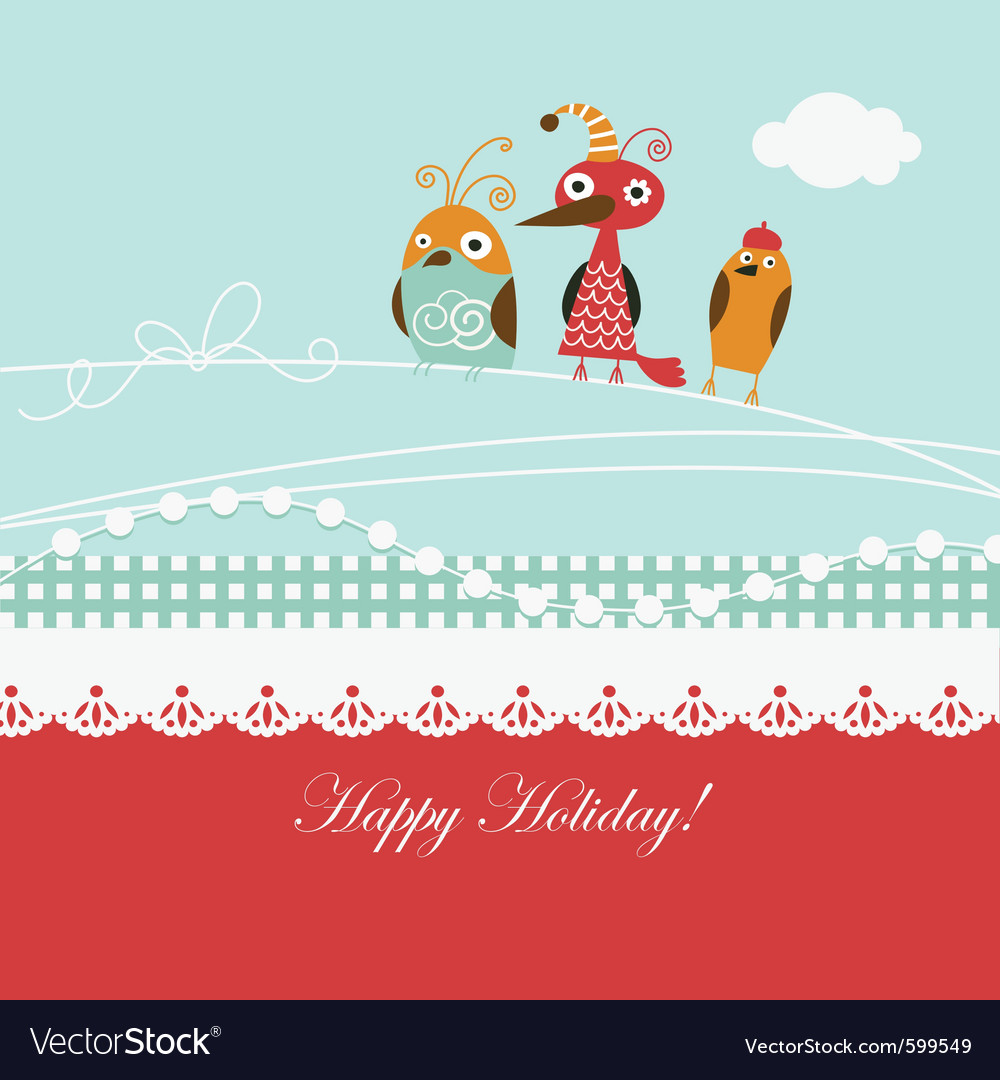 Cartoon birds on a greeting card vector | Price: 1 Credit (USD $1)