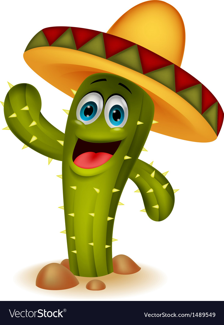 Cute cactus cartoon character vector | Price: 1 Credit (USD $1)
