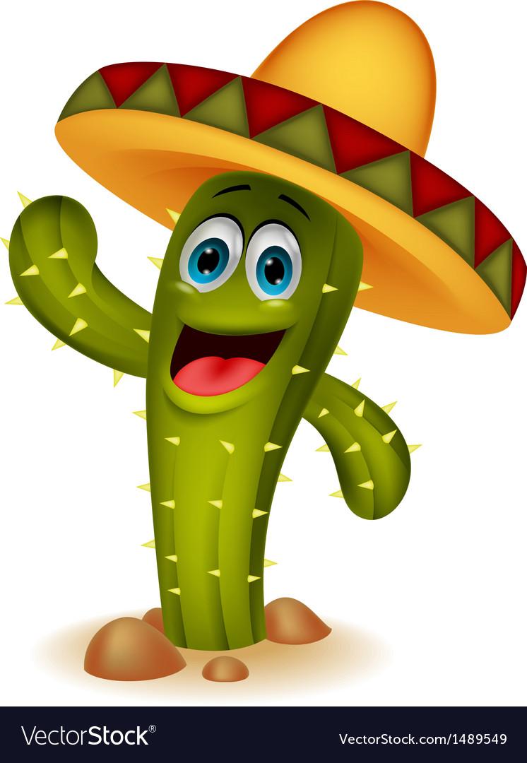 Cute cactus cartoon character vector | Price: 1 Credit (USD $1)