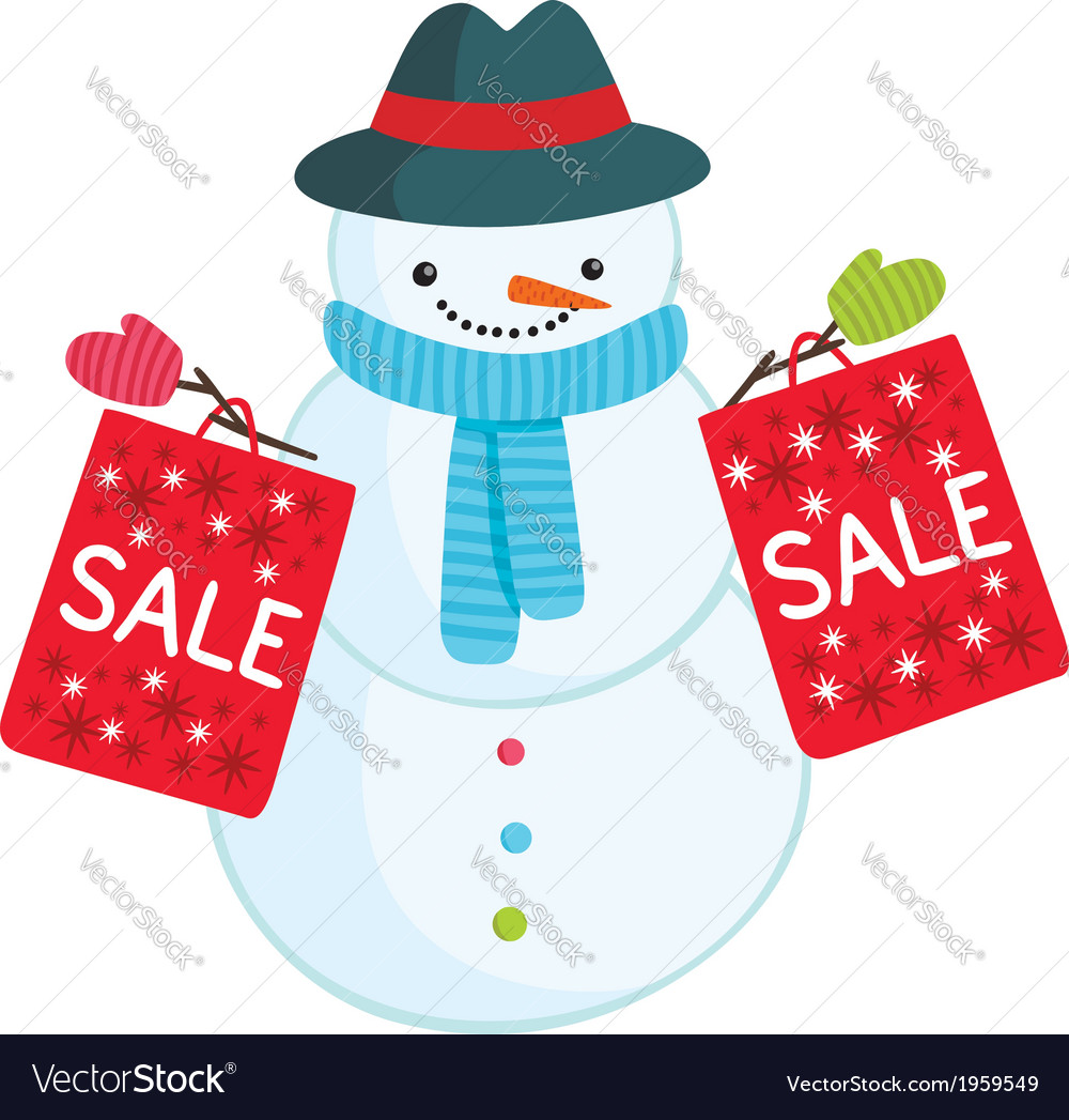 Cute cartoon snowman with sale bags vector | Price: 1 Credit (USD $1)