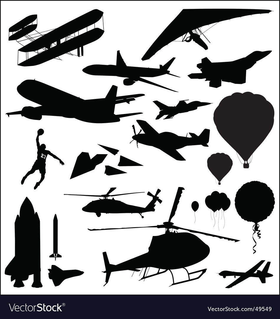 Flight silhouettes vector | Price: 1 Credit (USD $1)