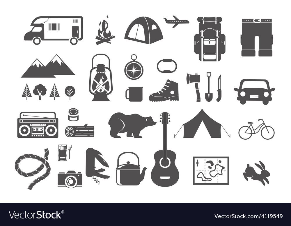 Hiking camping - set of icons and elements vector | Price: 1 Credit (USD $1)