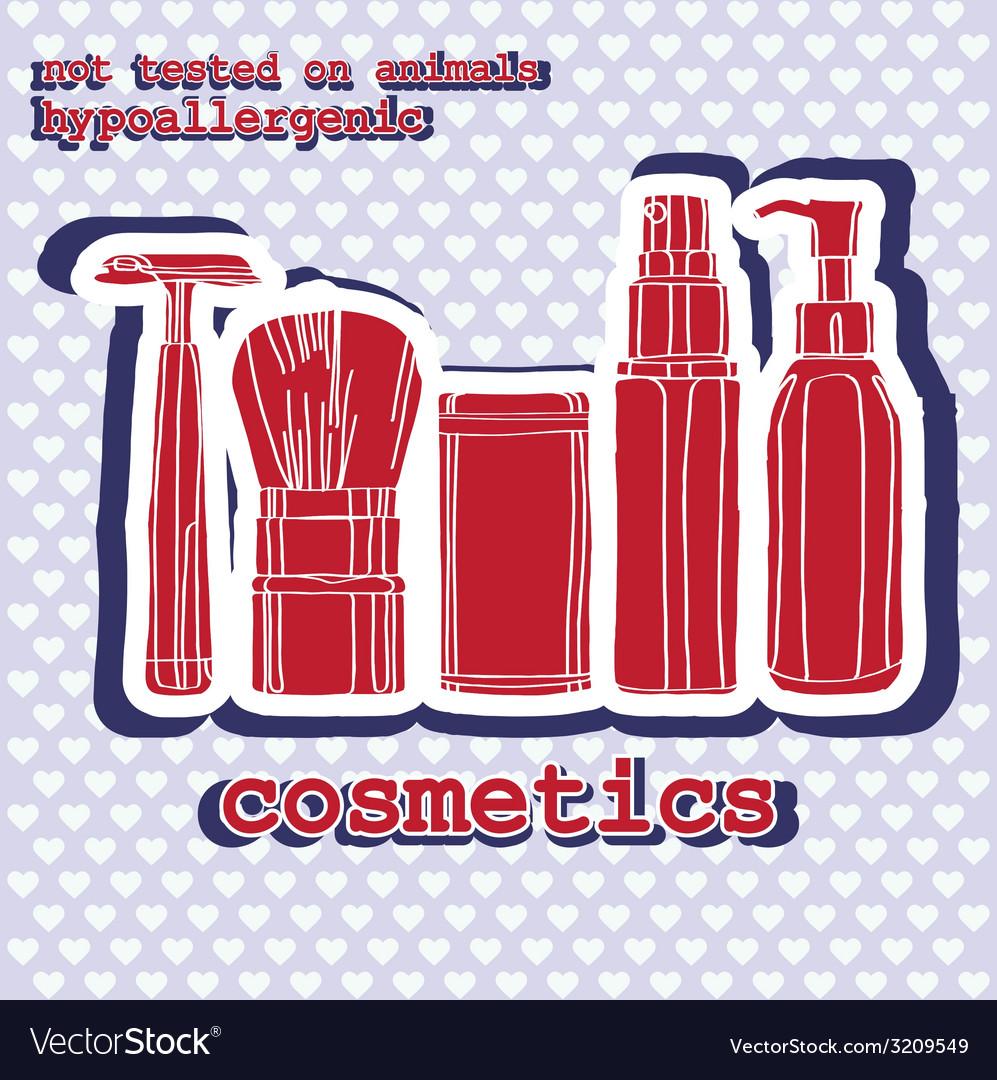 Set of cosmetics sticker vector | Price: 1 Credit (USD $1)