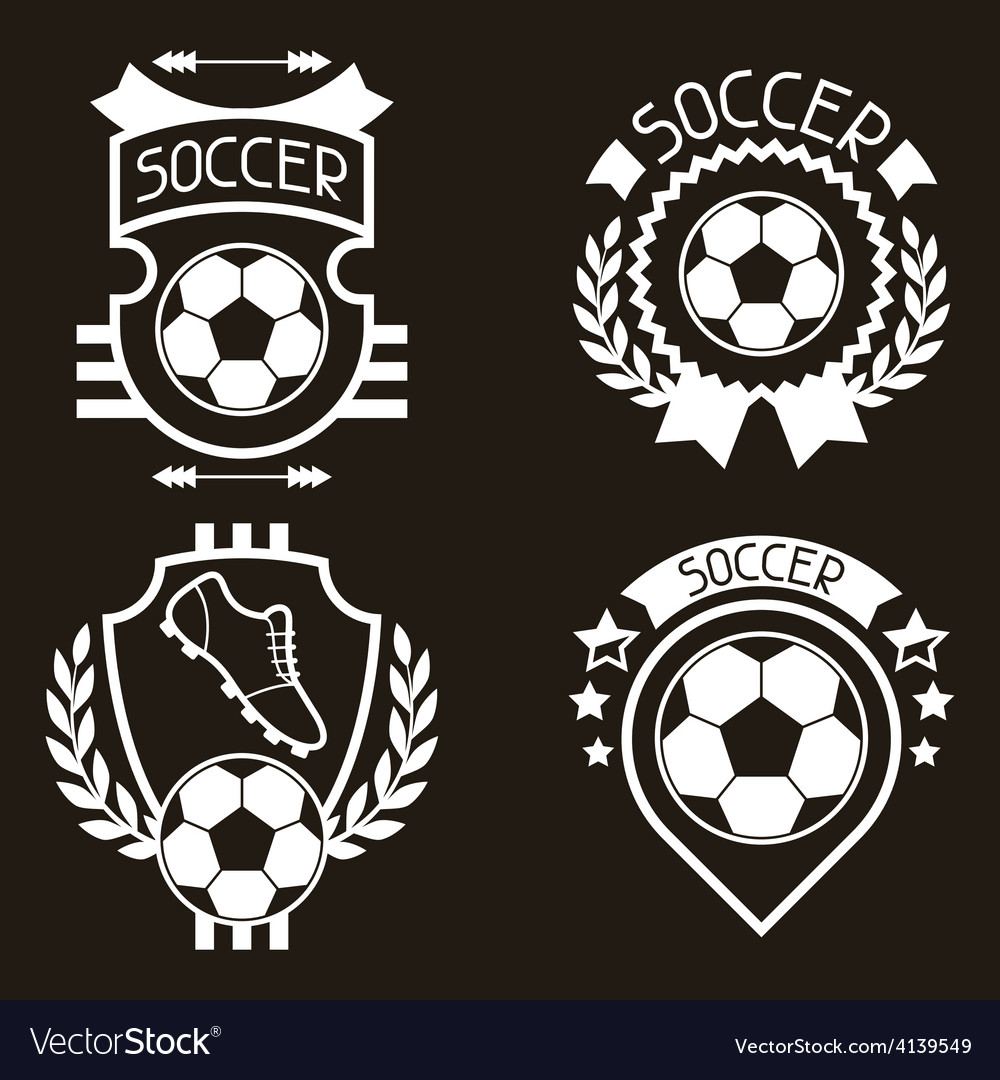 Set of sports labels with soccer football symbols vector | Price: 1 Credit (USD $1)