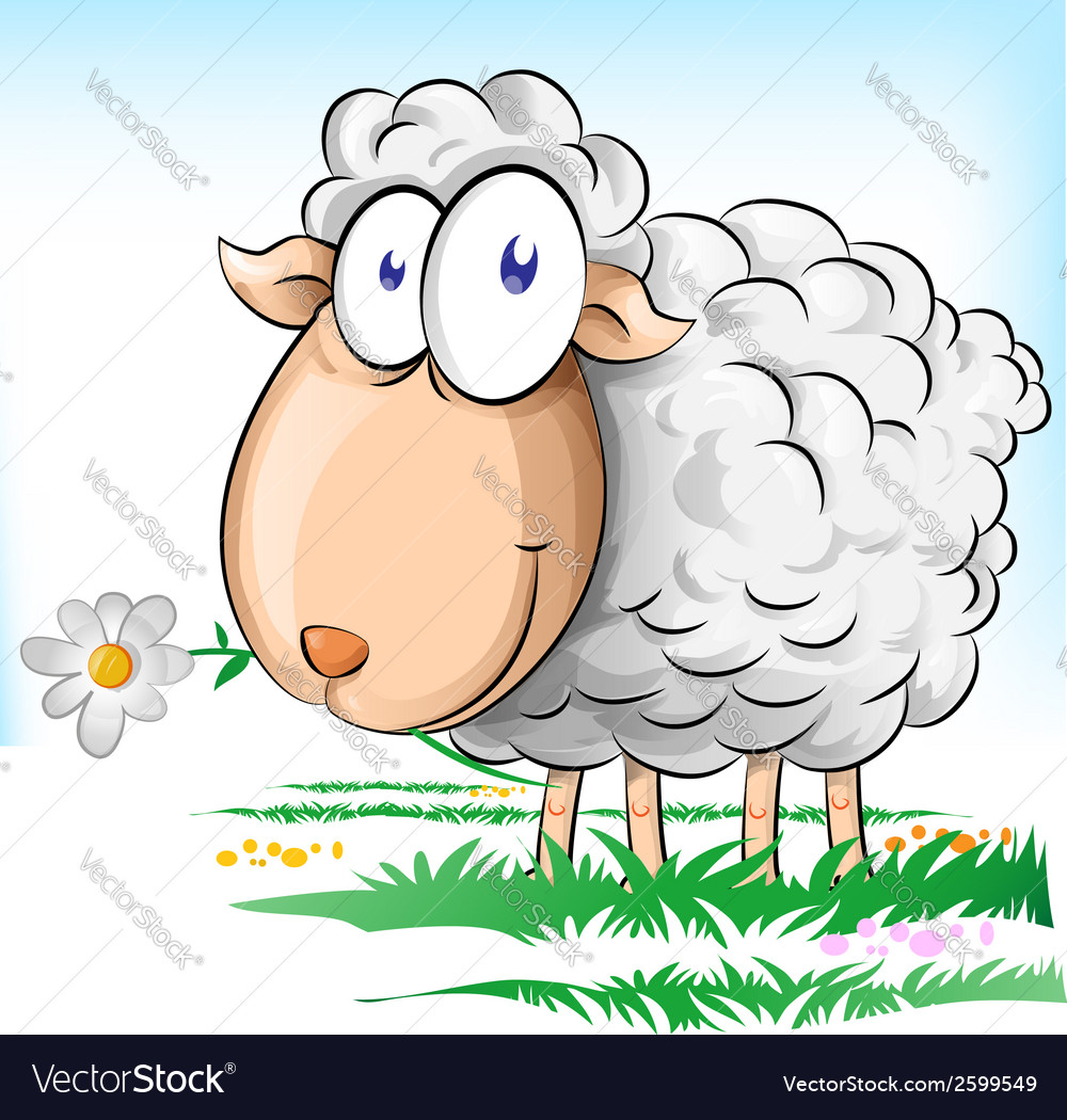 Sheep cartoon on background vector | Price: 1 Credit (USD $1)