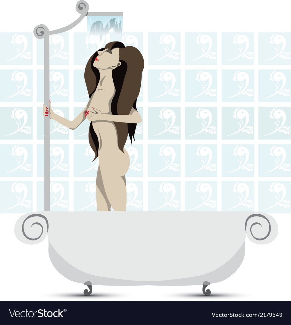Taking a shower vector | Price: 1 Credit (USD $1)