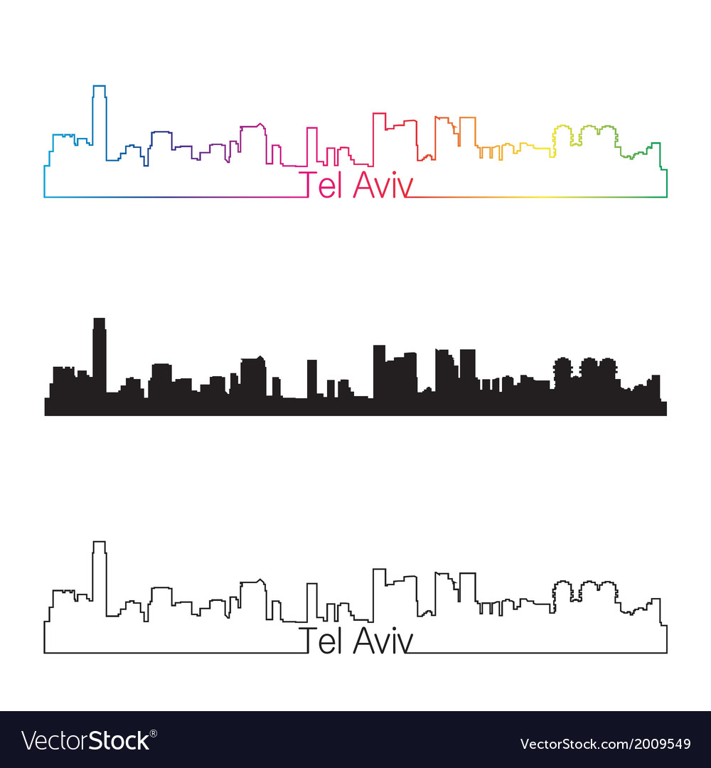 Tel aviv skyline linear style with rainbow vector | Price: 1 Credit (USD $1)