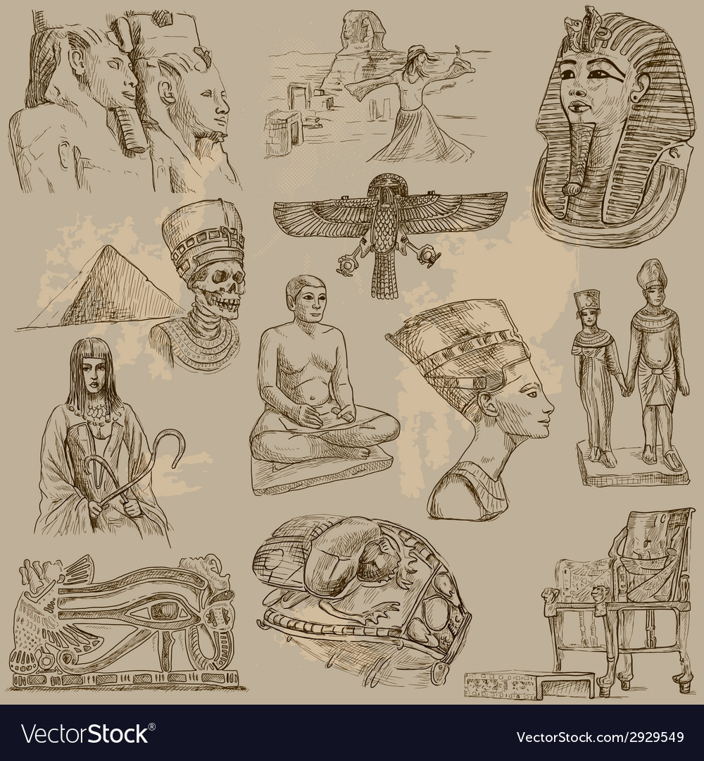 Traveling egypt - an hand drawn pack vector | Price: 1 Credit (USD $1)