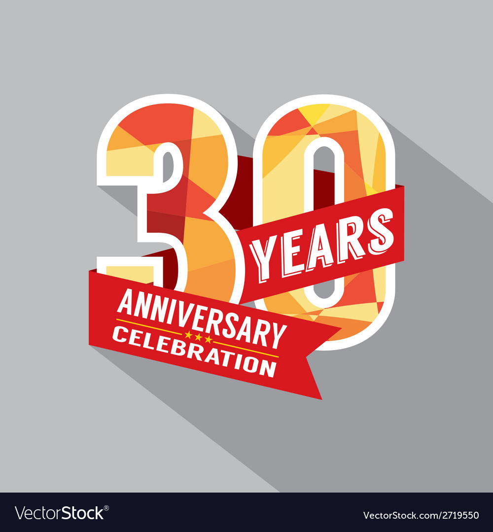 30th year anniversary celebration design vector