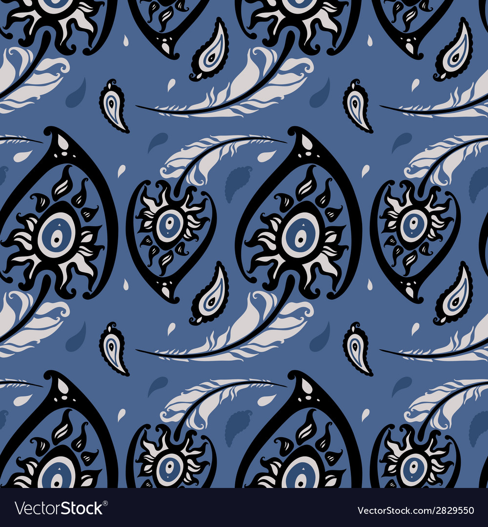 Beautiful peacock feathers seamless background vector | Price: 1 Credit (USD $1)