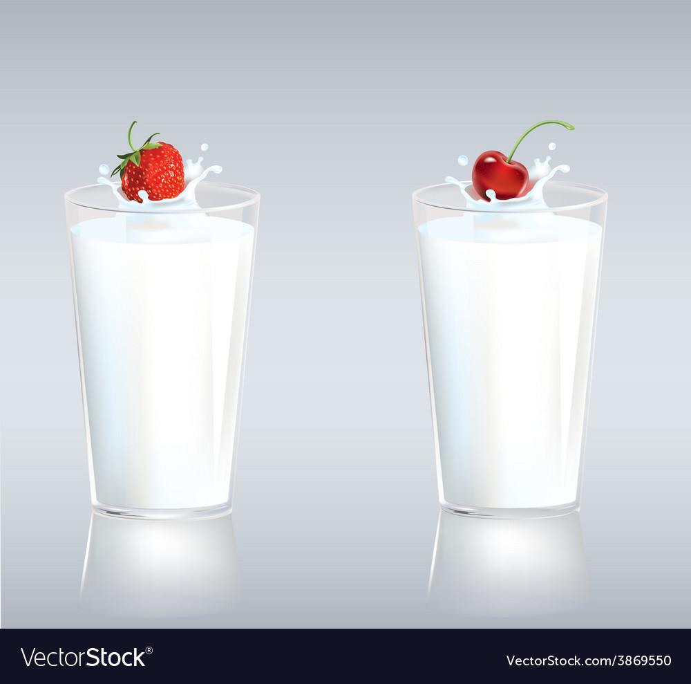 Berries in milk vector | Price: 1 Credit (USD $1)