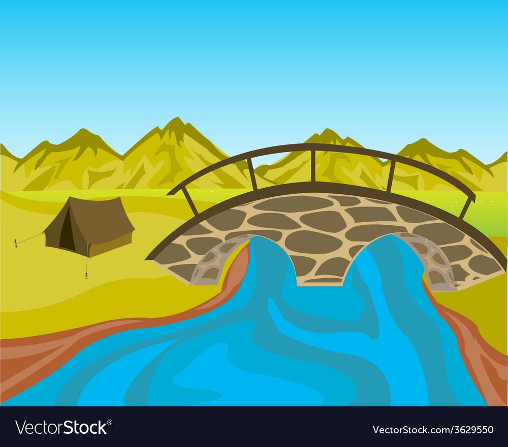 Bridge through river vector | Price: 1 Credit (USD $1)