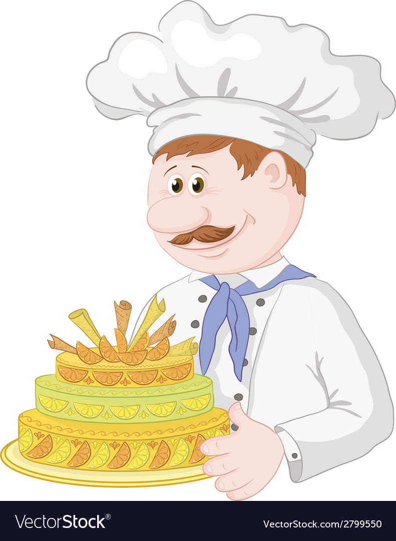 Cartoon cook with holiday cake vector | Price: 1 Credit (USD $1)