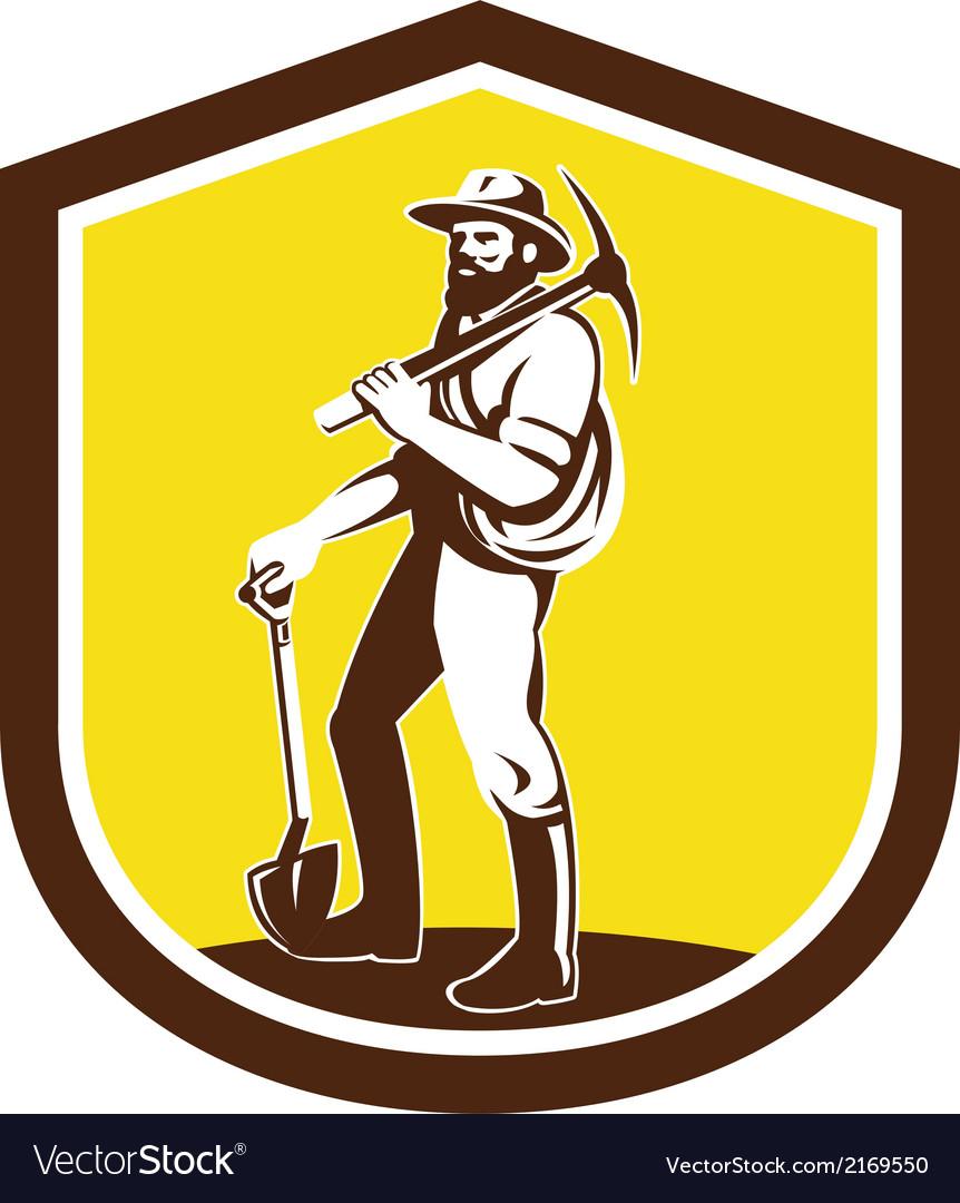 Coal miner carry pick axe shoulder retro vector | Price: 1 Credit (USD $1)