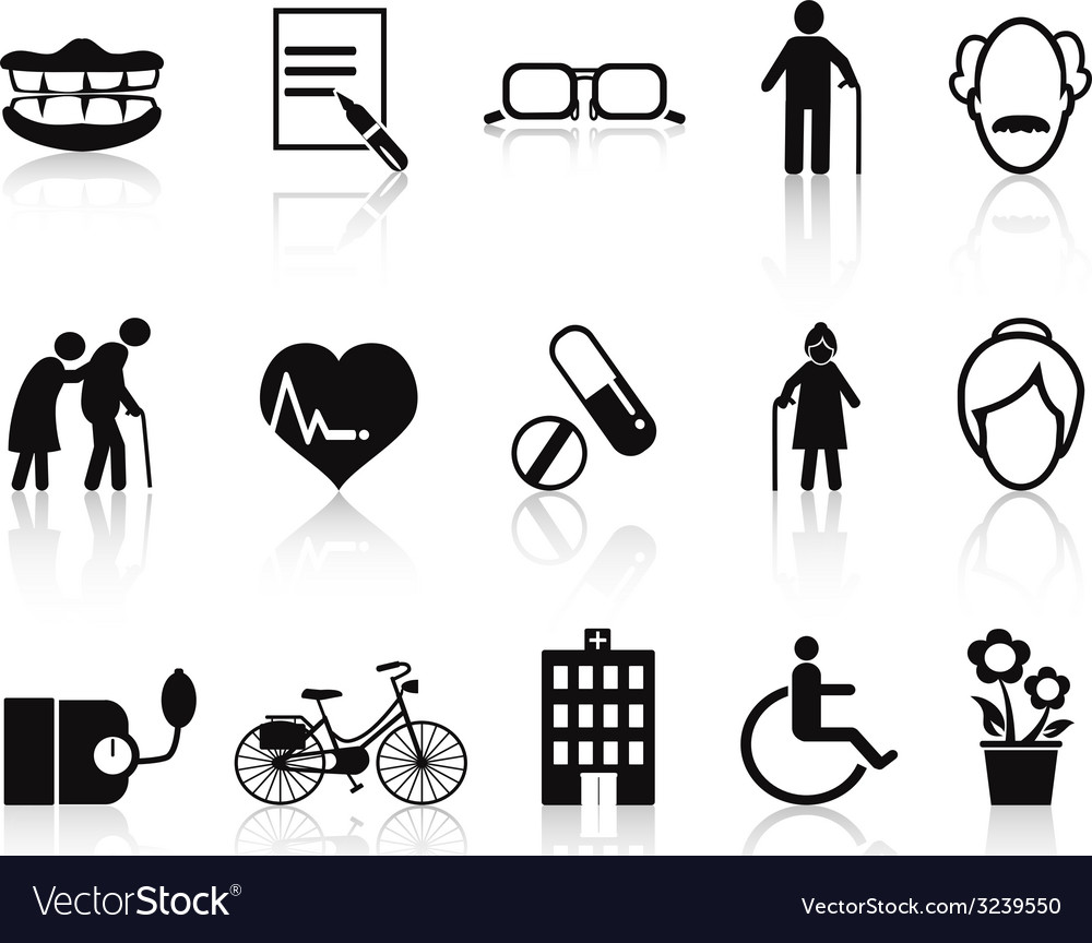 Elderly and senior icons set vector | Price: 1 Credit (USD $1)