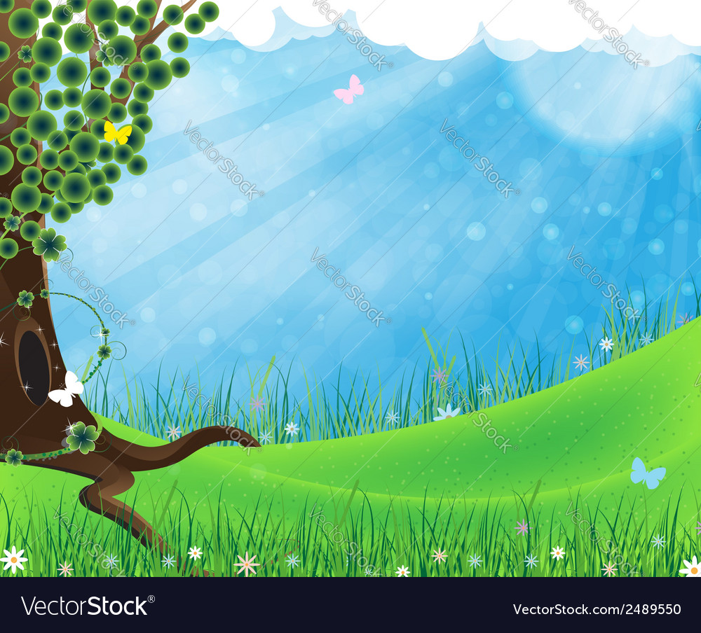 Green tree on meadow vector | Price: 1 Credit (USD $1)