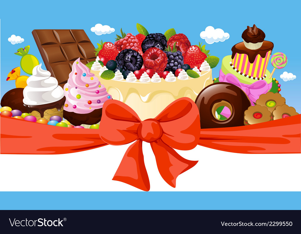 Horizontal design with sweet food - cake chocolate vector | Price: 1 Credit (USD $1)