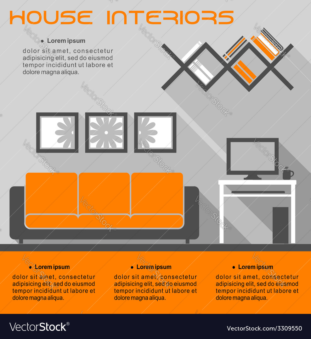 House interior infographic template vector | Price: 1 Credit (USD $1)