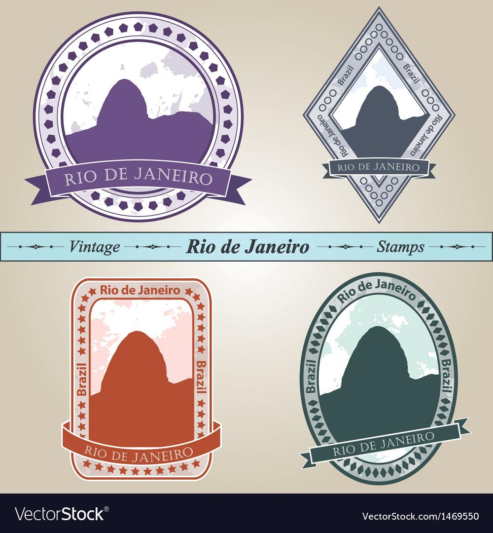 Vintage stamp rio de janeiro vector | Price: 1 Credit (USD $1)