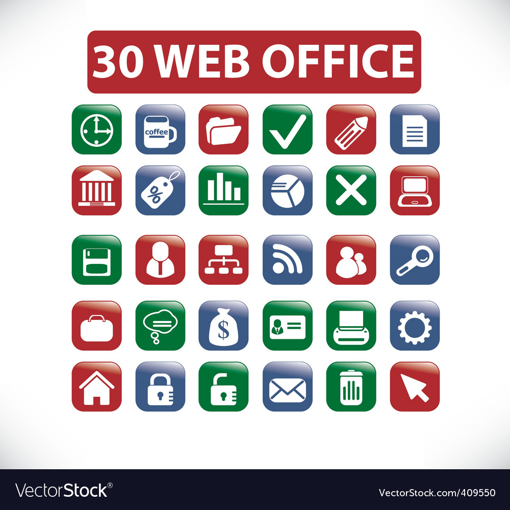 Web office buttons vector | Price: 1 Credit (USD $1)