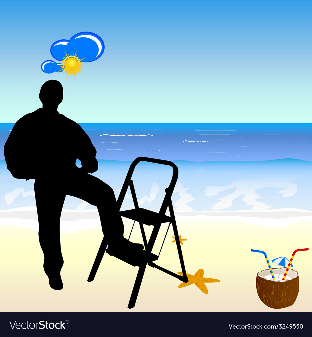 Worker on the beach paradise vector | Price: 1 Credit (USD $1)