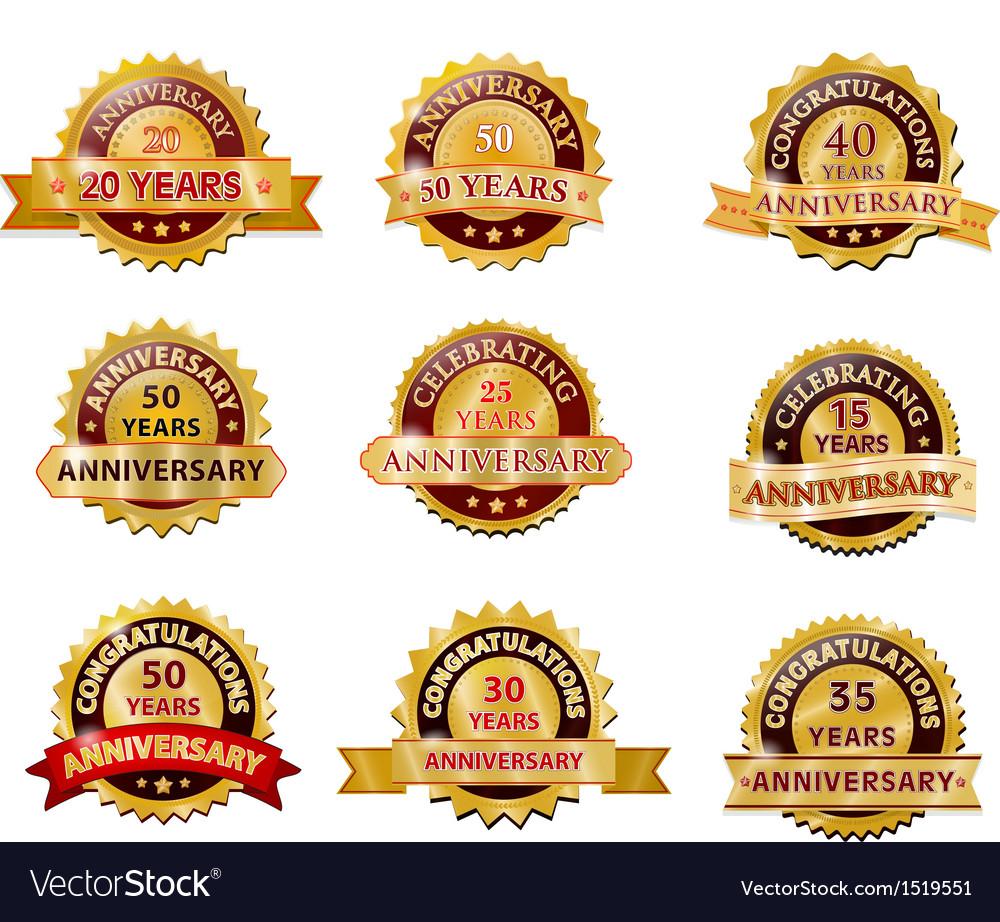 Anniversary gold badge set vector | Price: 1 Credit (USD $1)
