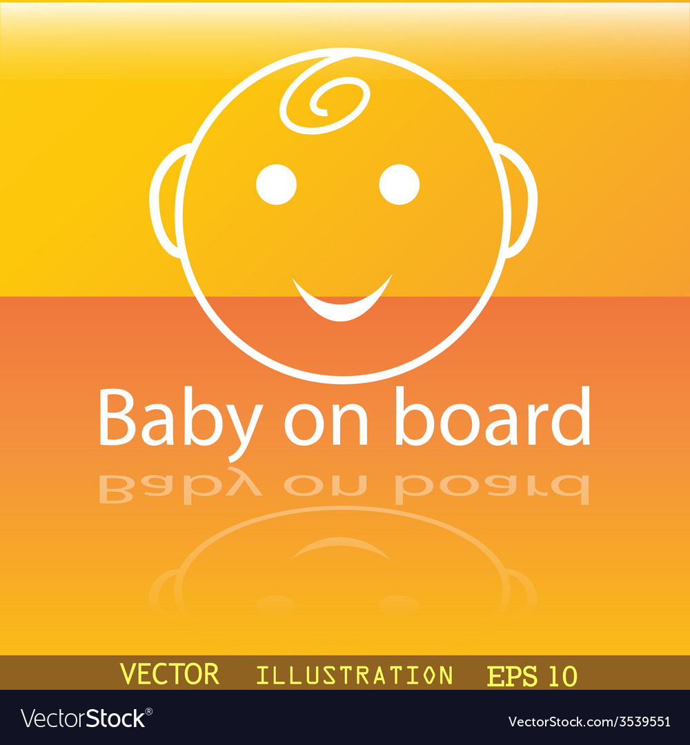 Baby on board icon symbol flat modern web design vector | Price: 1 Credit (USD $1)