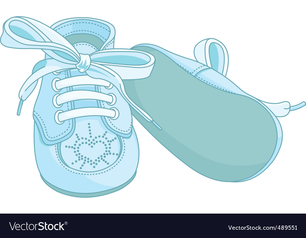 Blue baby shoes vector | Price: 1 Credit (USD $1)