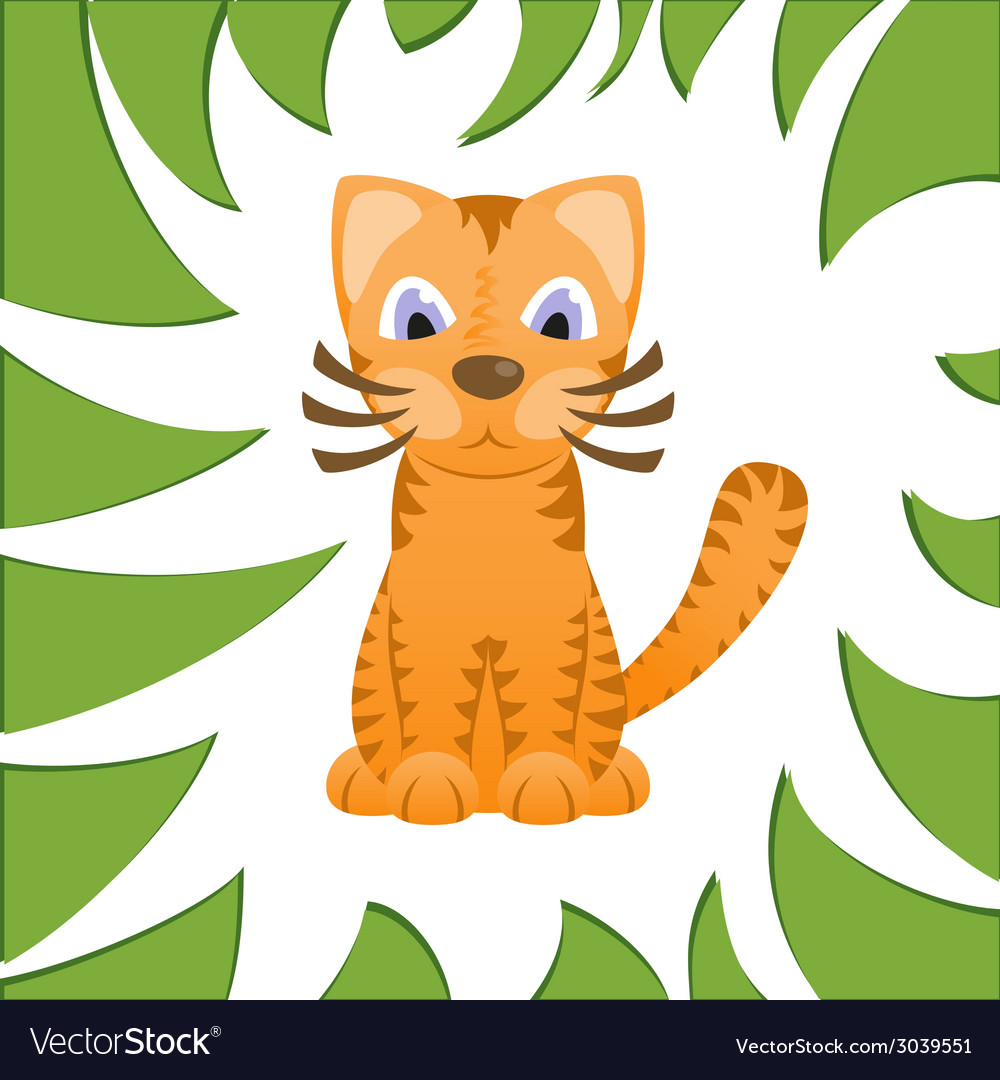 Cartoon cat looks like tiger in frame of jungle vector | Price: 1 Credit (USD $1)