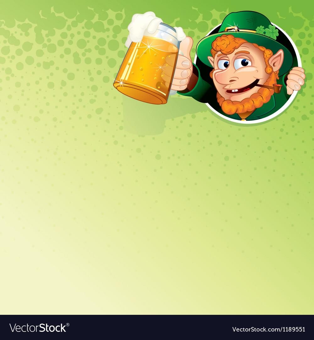 Cartoon leprechaun with mug of ale image vector | Price: 1 Credit (USD $1)