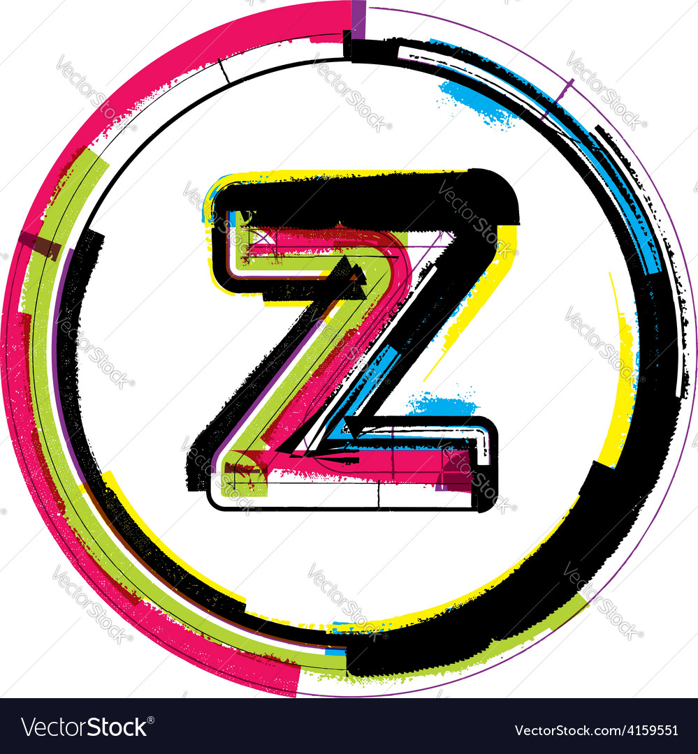 Colorful grunge font letter z vector | Price: 1 Credit (USD $1)