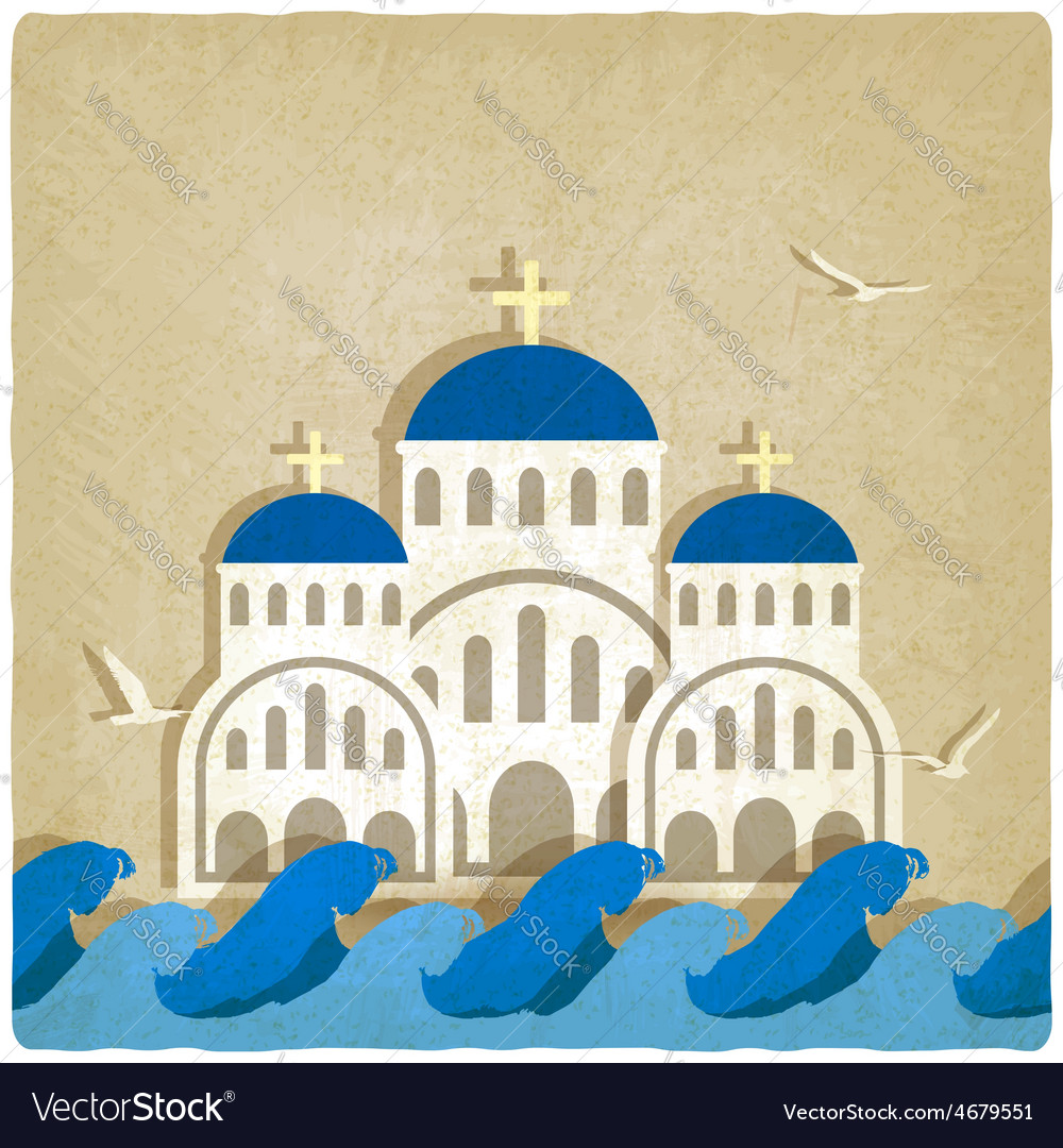 Greek church near blue sea vector | Price: 1 Credit (USD $1)