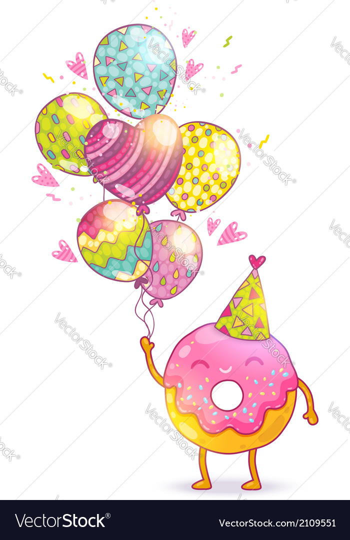 Happy birthday card background with cute donut vector | Price: 1 Credit (USD $1)