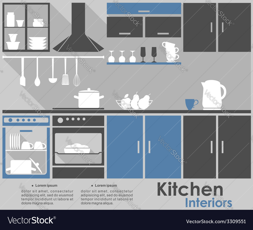 Kitchen interior infographic design vector | Price: 1 Credit (USD $1)