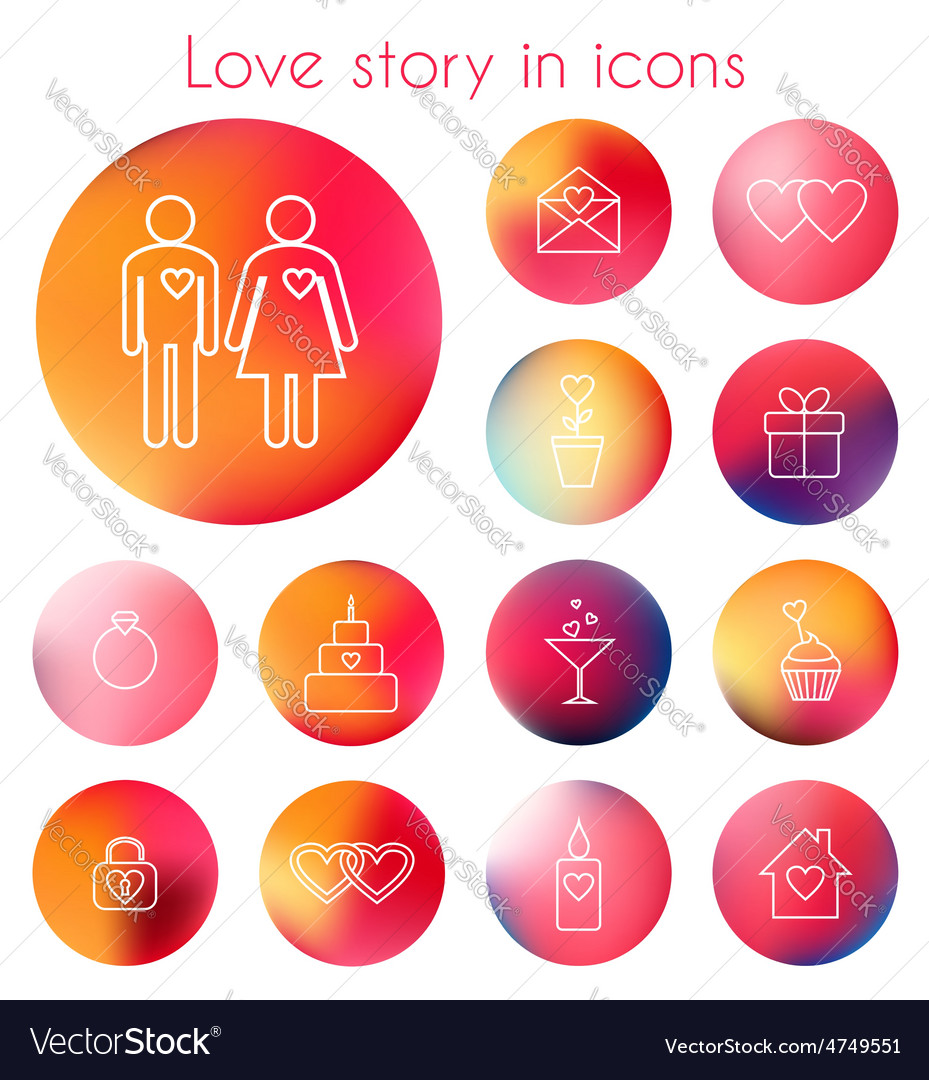 Love story in line icons vector   Price: 1 Credit (USD $1)