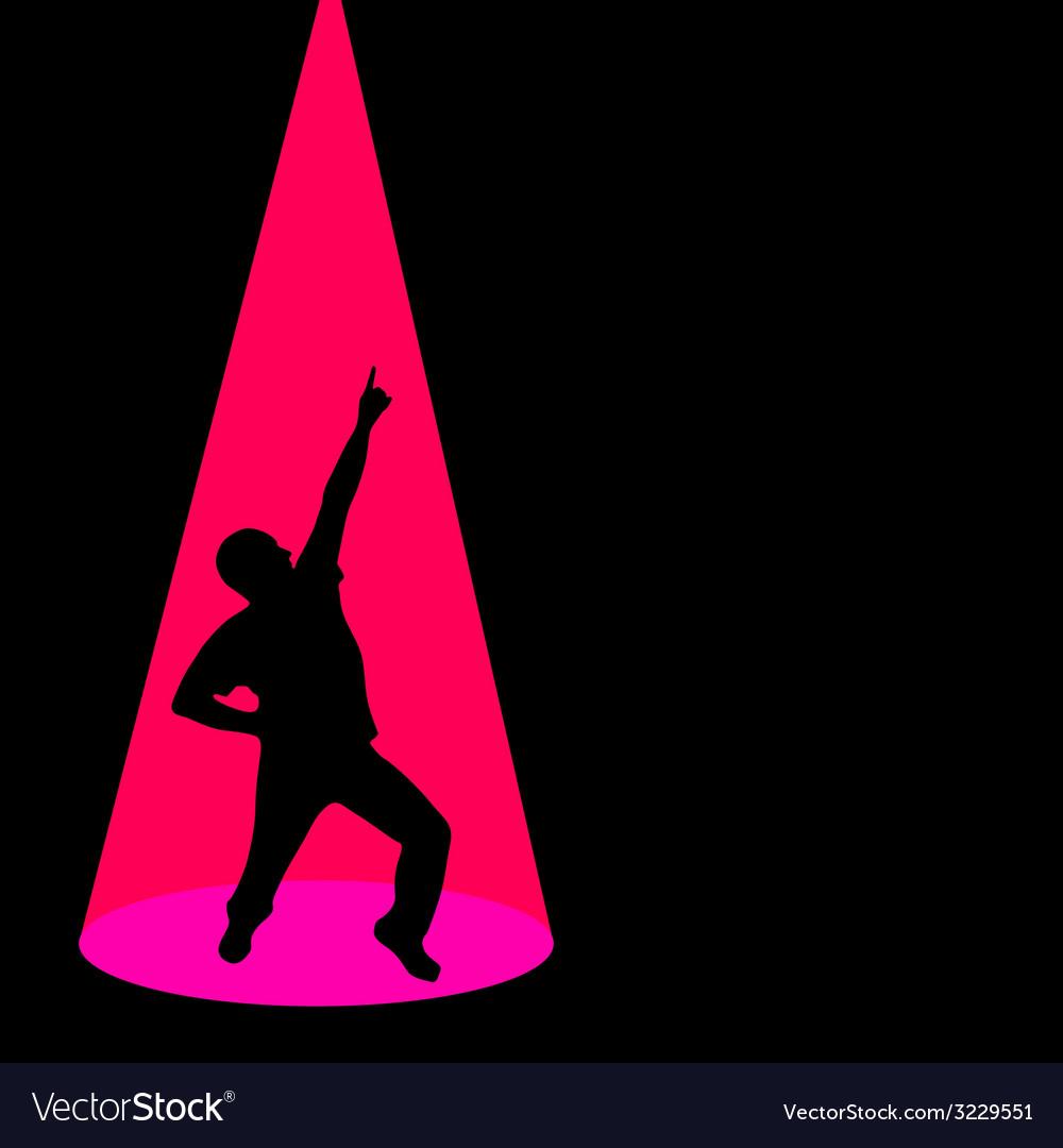 Man dancing black silhouette pose vector | Price: 1 Credit (USD $1)