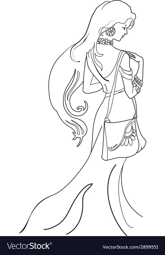 Romantic woman vintage profile silhouette vector | Price: 1 Credit (USD $1)