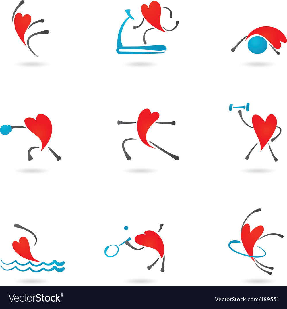 Sport and fitness heart icons vector | Price: 1 Credit (USD $1)
