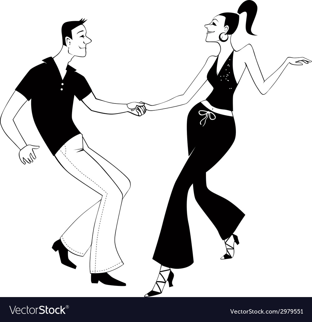 West coast swing dancers clip art vector | Price: 1 Credit (USD $1)