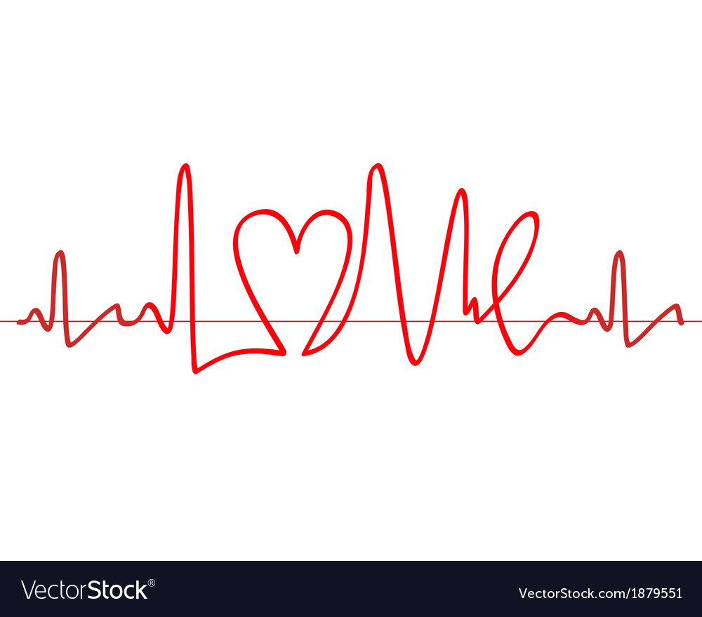 Word love shape electrocardiogram on white backgro vector | Price: 1 Credit (USD $1)