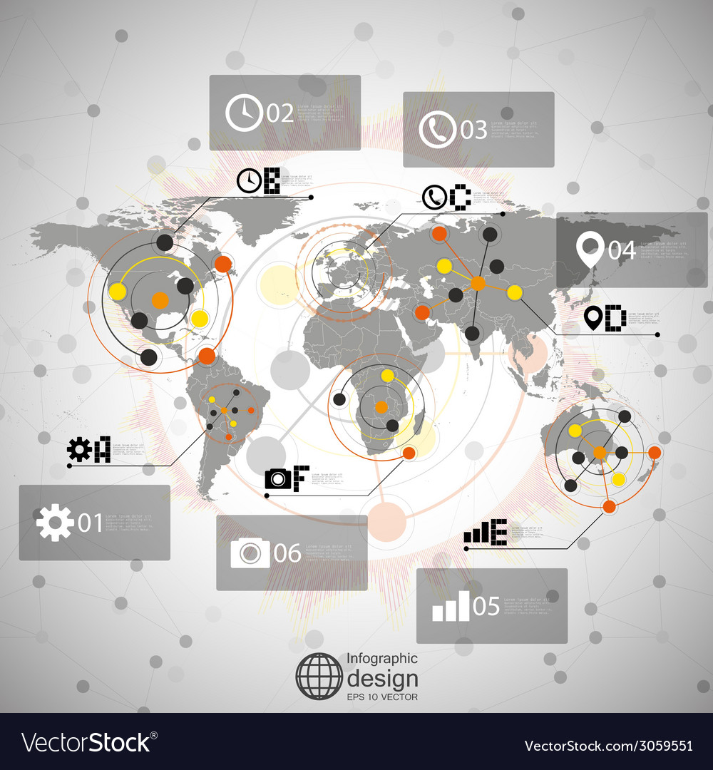 World map  infographic design for communication vector   Price: 1 Credit (USD $1)