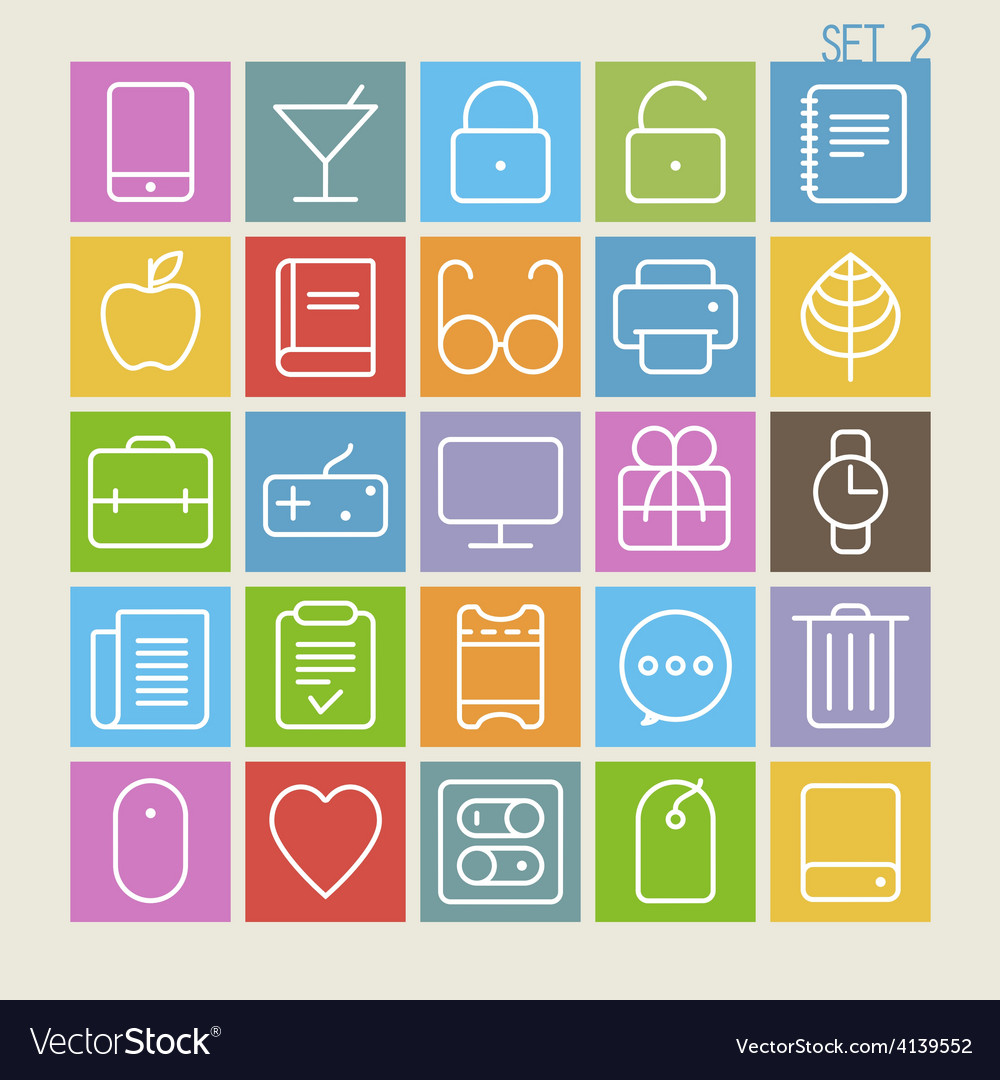 25 trendy thin icons set 2 vector | Price: 1 Credit (USD $1)