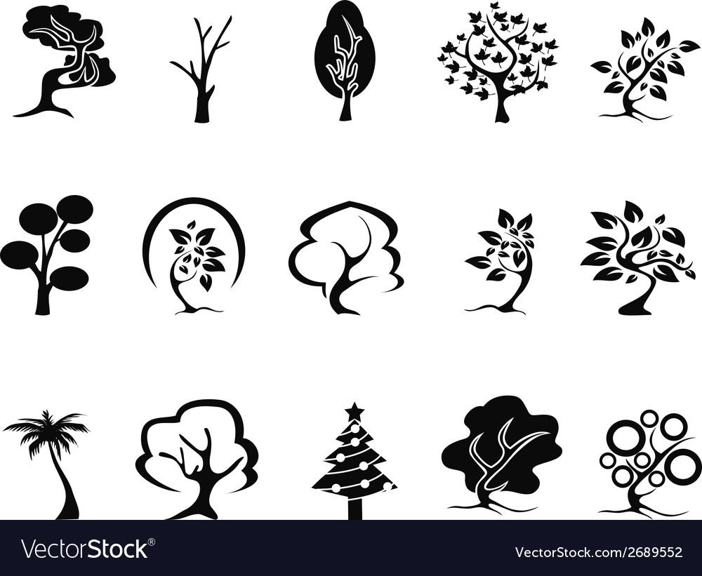 Black tree icons set vector   Price: 1 Credit (USD $1)